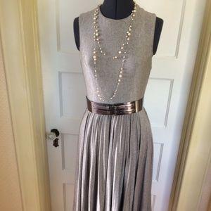 Champagne Tea Length Pleated Dress